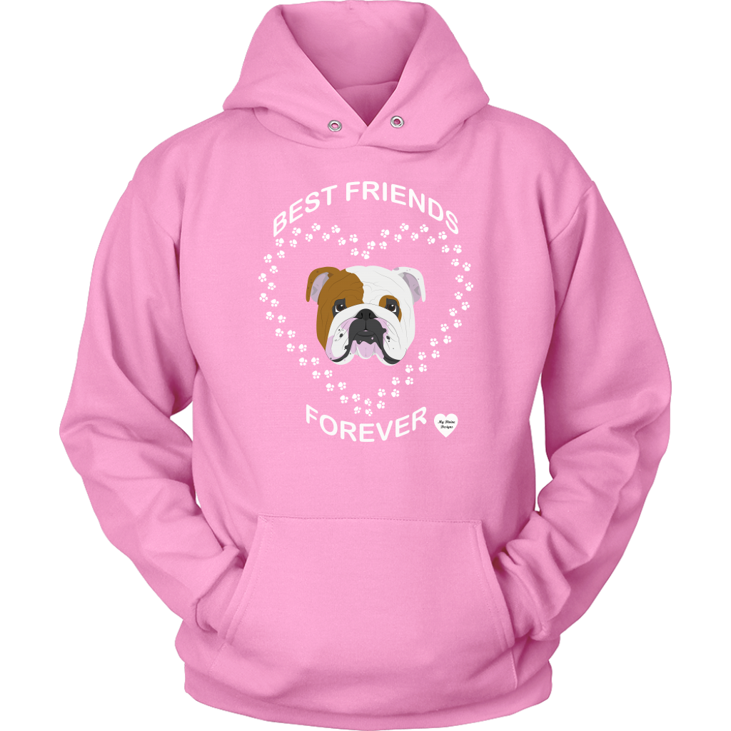 English Bulldog Best Friends Forever Hoodie Pink