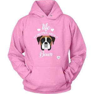 Life Is Better With A Boxer Hoodie Pink