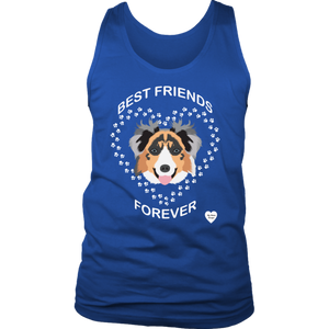 australian shepherd best friends tank top royal blue