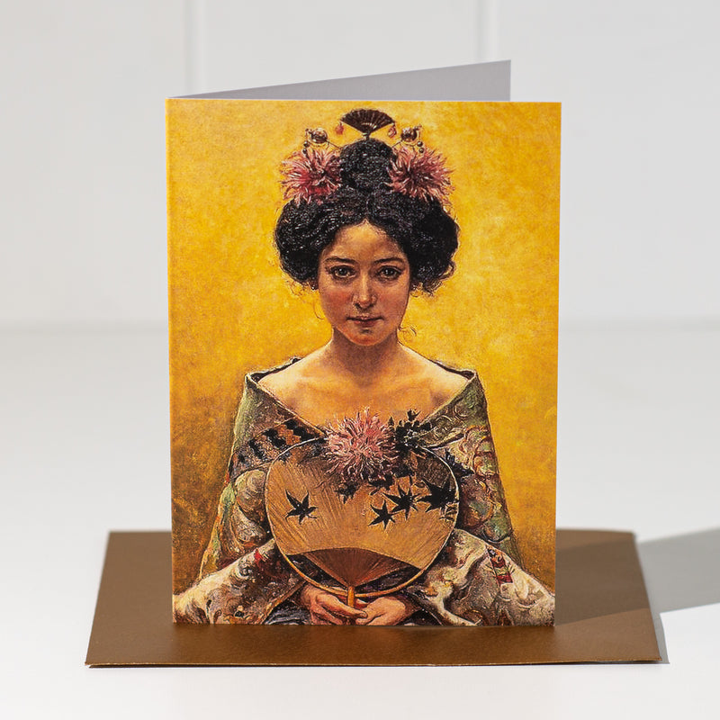 Gold Lady With Fan Greeting Card