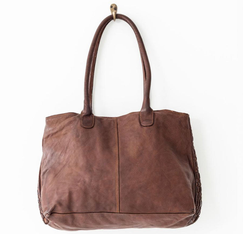 Juju & Co. Woven Leather Tote bag - Cognac