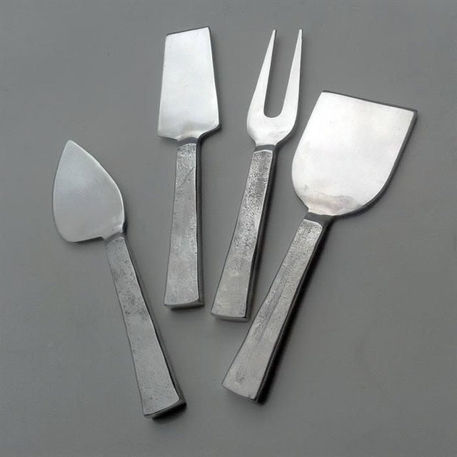Hammered Nickel Cheese Knife Set/4