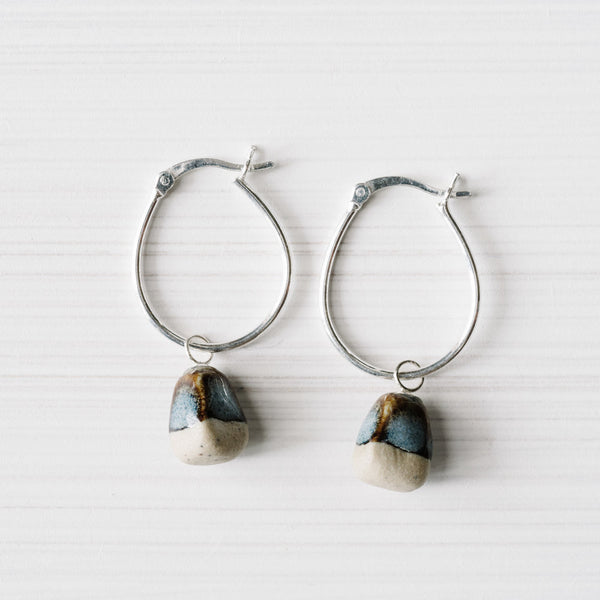 Woodfolk Ink Rough Stone Hoop Earrings