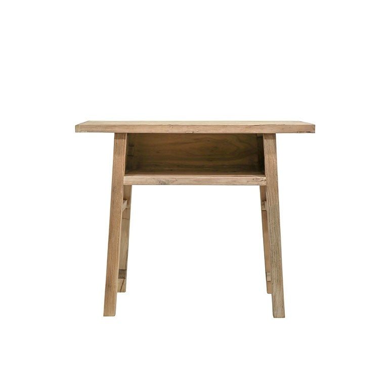 Natural Reclaimed Elm Console With Shelf - Short 110cm