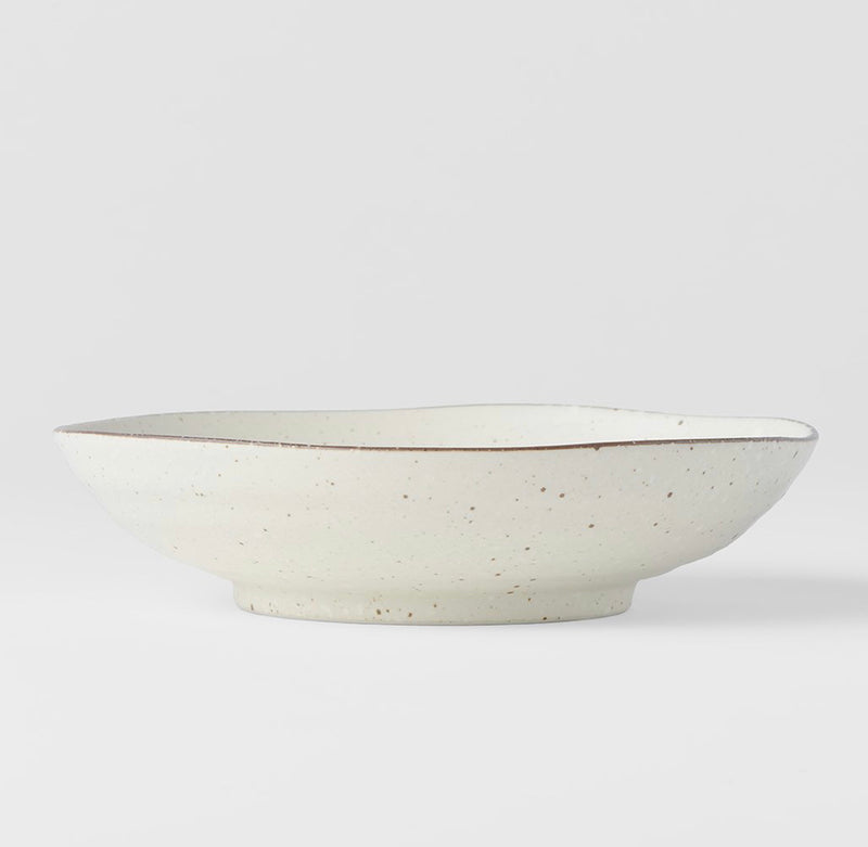 Cream Fleck Shallow Bowl