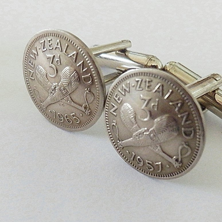 Threepence Cufflinks Silver - Made in NZ