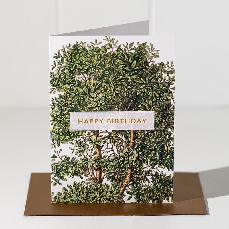 Happy Birthday Greeting Card - Green Tree