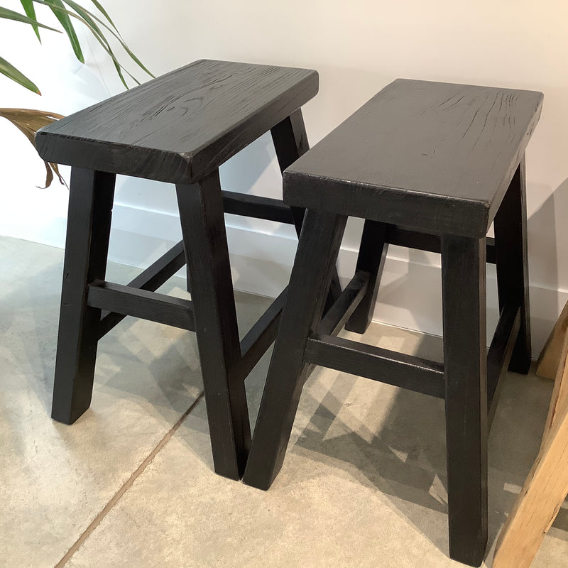 Reclaimed Elm Peasant Stool - Black