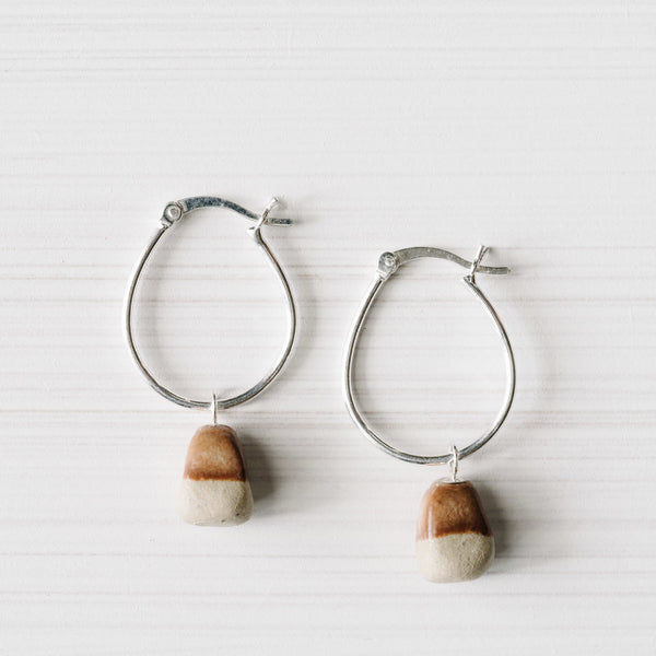 Woodfolk Red Ochre Rough Stone Hoop Earrings