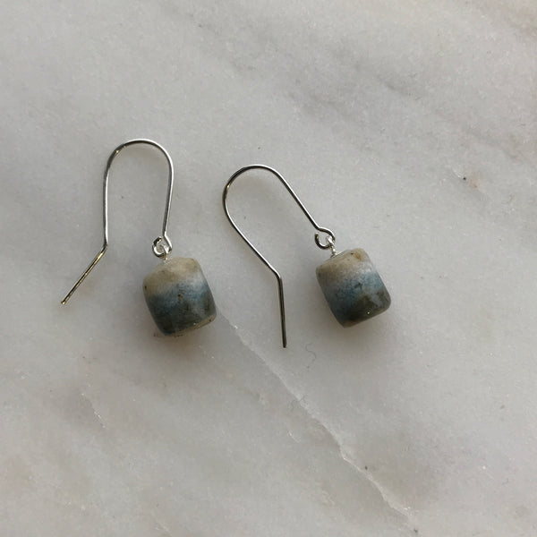 Woodfolk Salty Blue Cylinder Drop Earrings