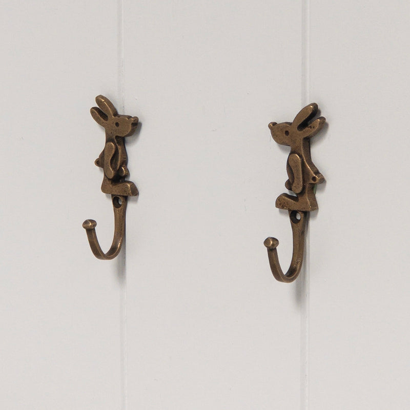 Brass Baby Rabbit Hooks (Pair)