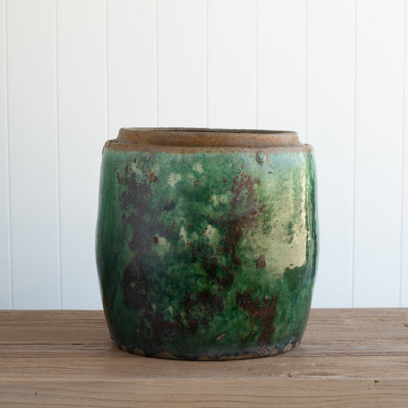 Green Glaze Vintage Rice Pot (E)