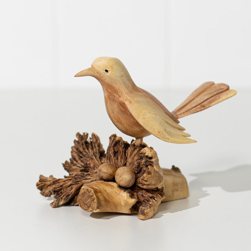 Hand Carved Bird On Nest