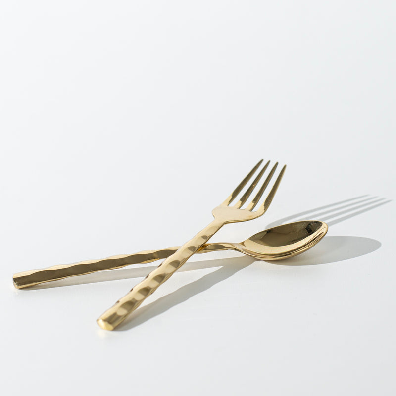 Brass Serving Cutlery - Dimpled