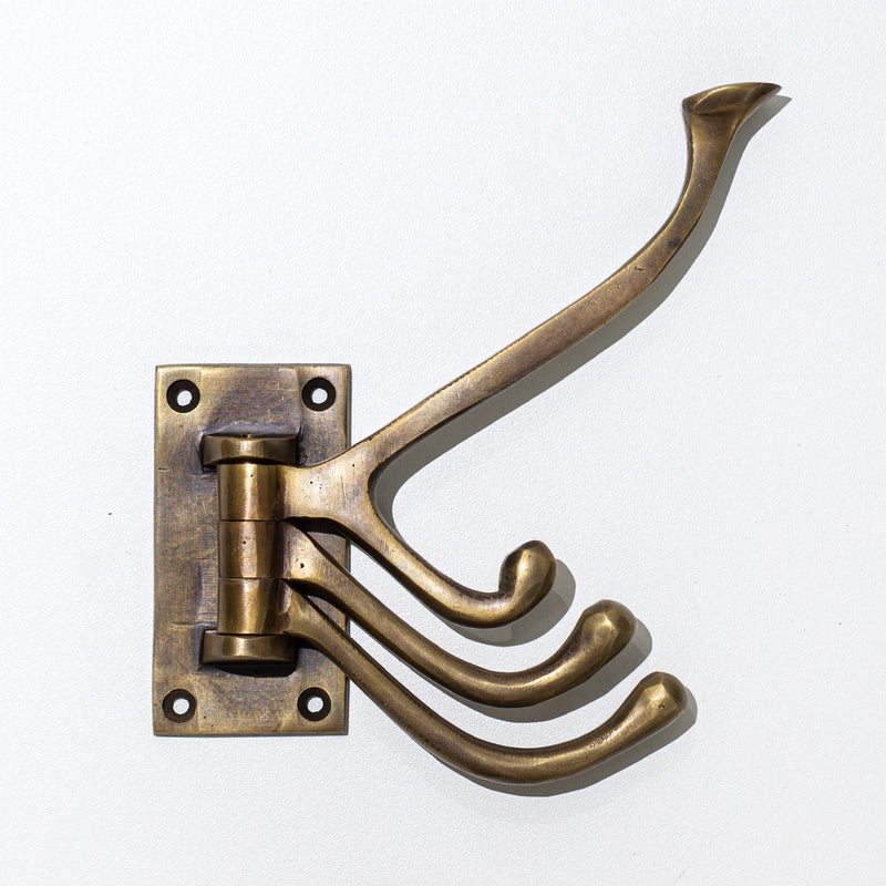 Brass Hinged Triple Hook
