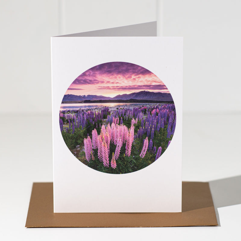Lupins at Lake Tekapo - Landscape Greeting Card