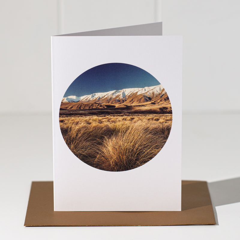 Tussocks & Hawkdun Range - Landscape Greeting Card