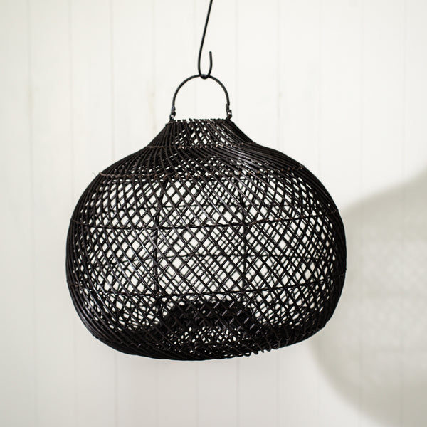 Rattan Pear Light Shade - Black