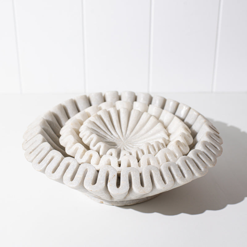 Marble Ruffle Bowl