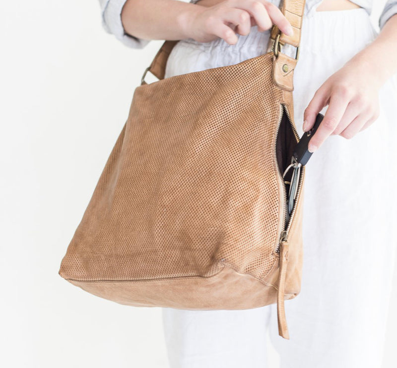 Juju & Co. Perforated Leather Slouchy Bag - Natural