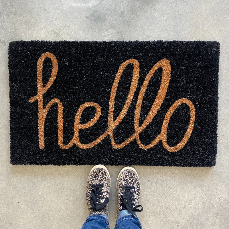 Hello Coir Door Mat