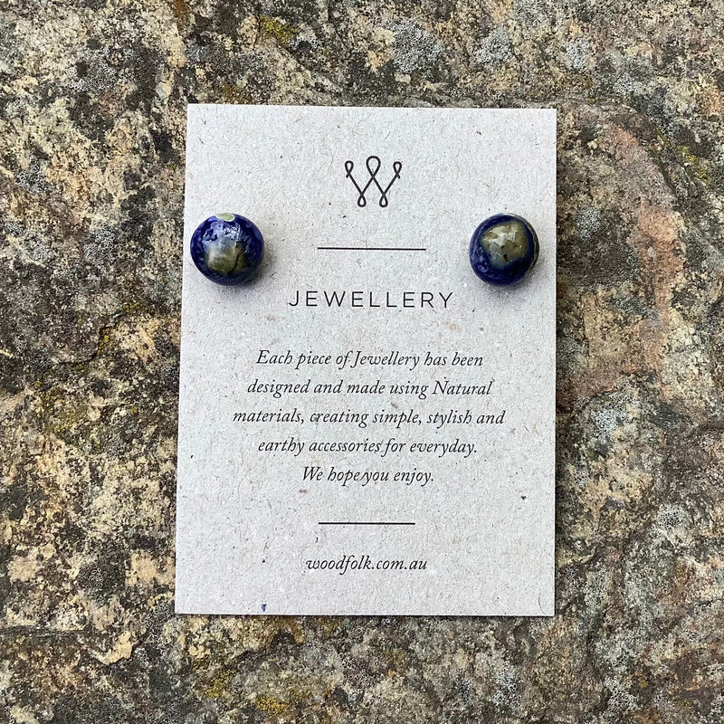 Woodfolk Midnight Blue Acorn Studs