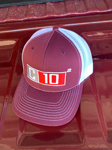 C10 Squared big exponent hat in maroon and white