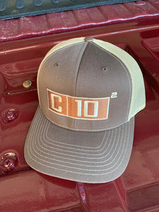 C10 Squared big exponent hat in brown and khaki