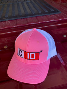 C10 Squared big exponent hat in Pink and white