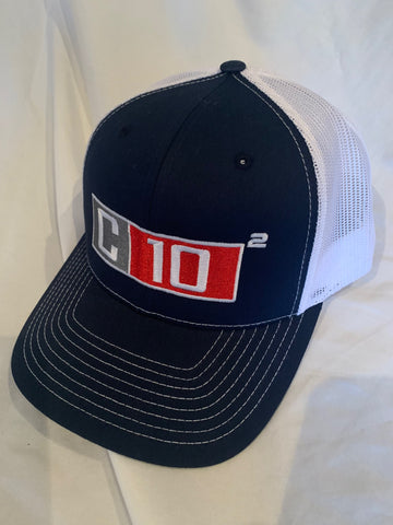C10 Squared big exponent hat in dark navy blue and white