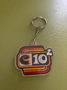 C10 Squared 70's Keychain