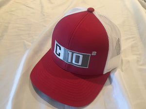 C10 Squared snapback hat in Crimson and white