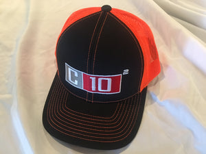 C10 Squared snapback hat in black and orange