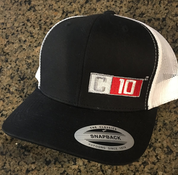 C10 Squared Exponent Black and White mesh Snapback Hat.