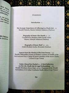 Table of contents of the book The Four Imams - A Forgotten Legacy