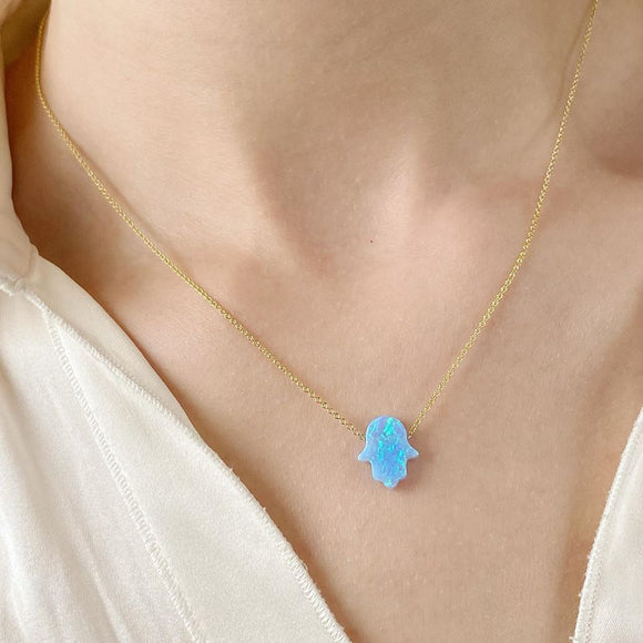 Delicate Solid 14k Gold blue opal Hamse hand chain necklace