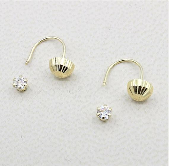 14K Yellow Gold Girls Womens Ear Jacket Earrings Screw Front Closure