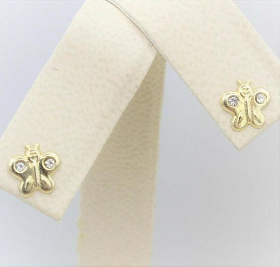 14K Solid Yellow Gold Girls Babies Butterfly Stud Earrings Screw Back 7mm