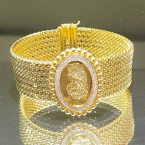 21K Solid Gold Wide Bracelet Cubic Zircon Oval