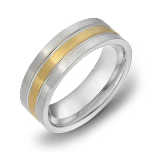18k Gold Two Tone Yellow Gold & Satin WG Comfort fit 6mm Milgrain Wedding Band Ring 4