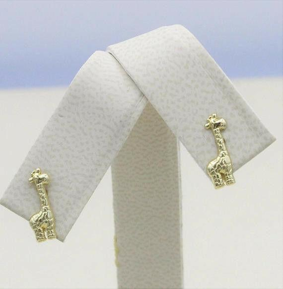 14K Yellow Gold Girls Babies Giraffe Stud Earrings Ball Screw Back 12mm