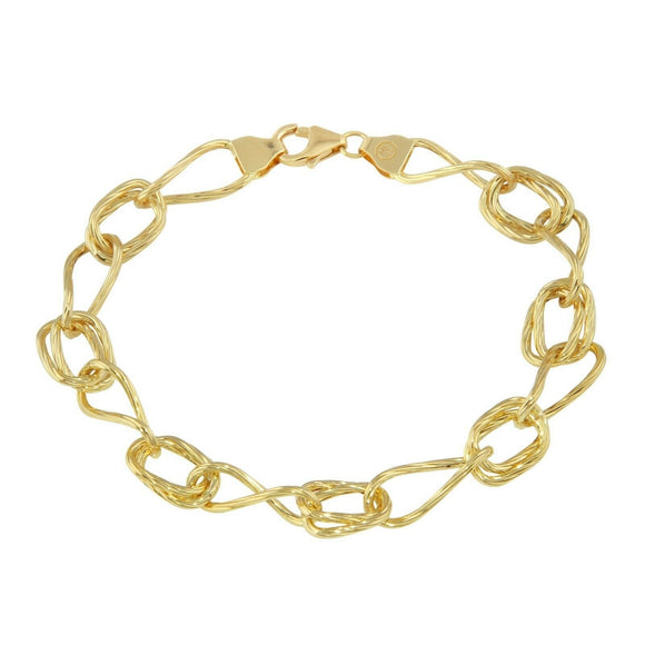 Mens Womens 18K Yellow Gold Chain Bracelet