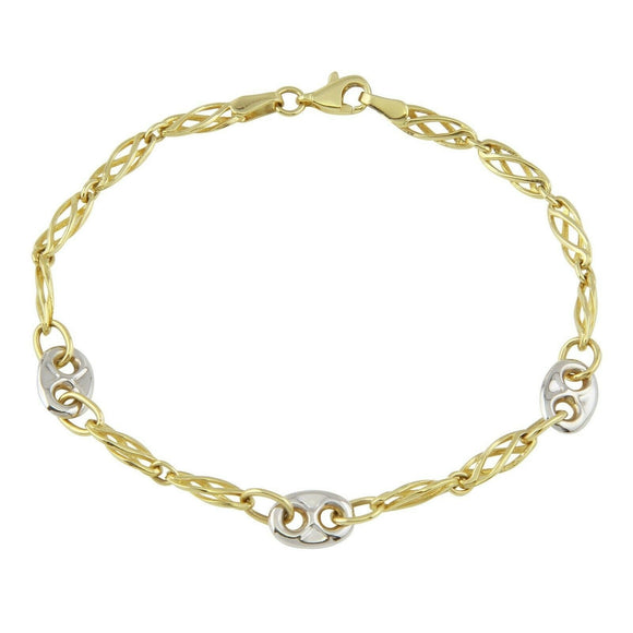 Mens Womens 14K Yellow Gold Two Tone Link Chain Bracelet