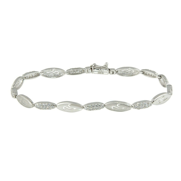Womens 18K White Gold Cz Satin Bracelet