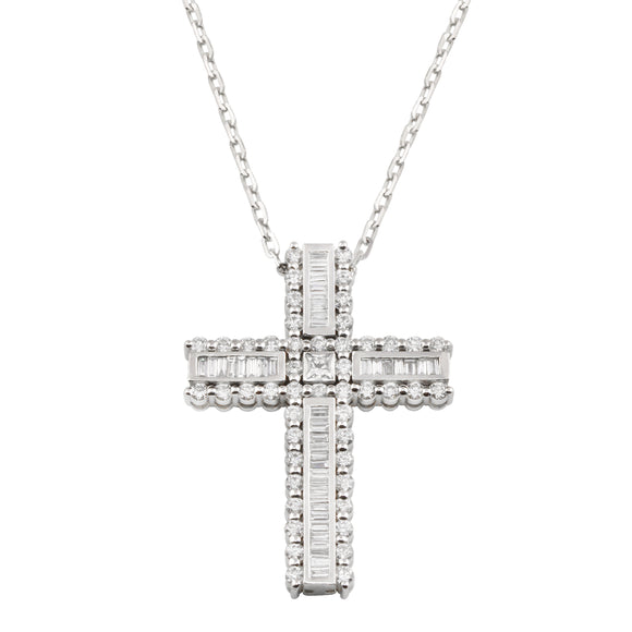 Diamond Baguette 18K White Gold Cross Chain Necklace