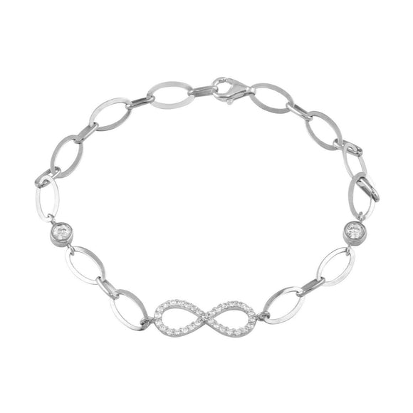 Womens 18K White Gold Infinity Symbol Oval Link Chain 7
