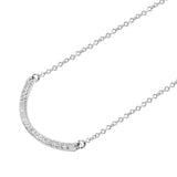 Diamond 14k White gold Curved Bar Pendant Necklace
