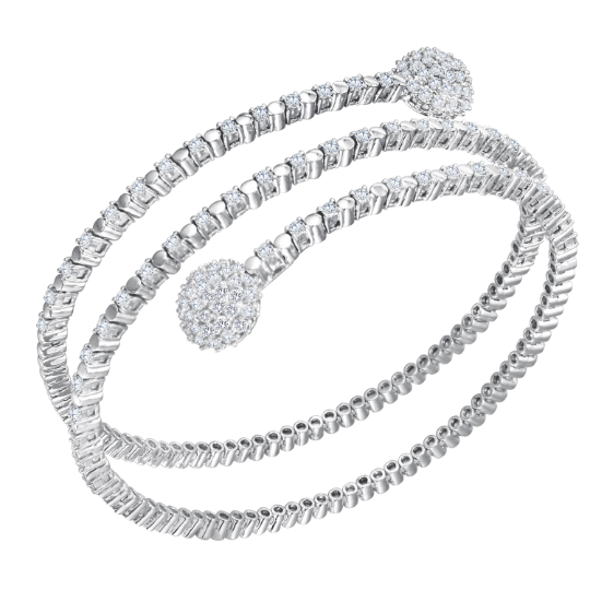 Womens 18K White Gold 3.22ct Diamond G-H VS Bangle Bracelet 7