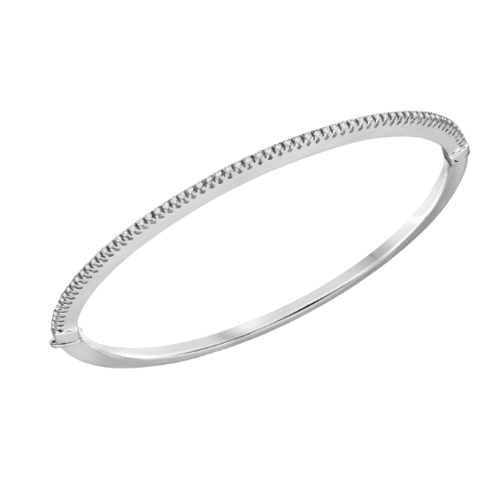 Womens 18K White Gold Diamond G-H SI Bangle Bracelet 7