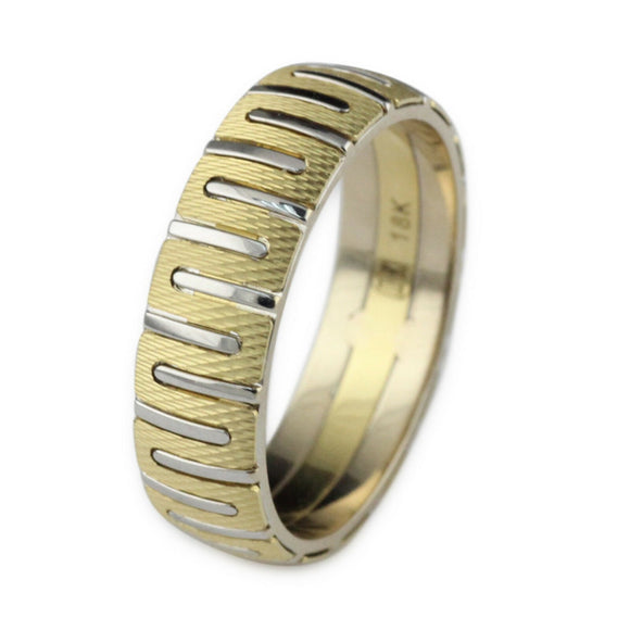 Womens Mens 18K Yellow Gold Multicolor 6mm Wedding Band Ring